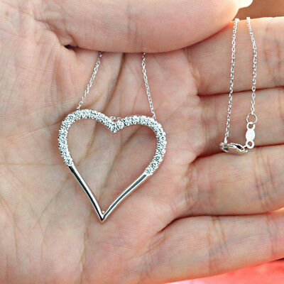 0.15 Ct Round Cut Diamond Open Heart Pendant With Chain 14k White Gold Over