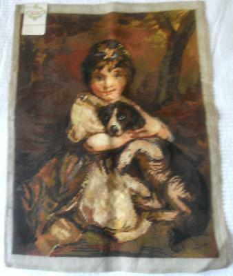 Vintage Completed Tapestry Girl With Dog Spaniel Suit Cushion Frame Etc