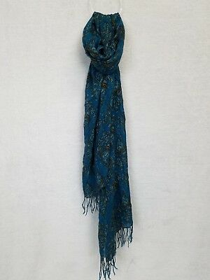 Pashmina Scarf Turquoise with Gold Pattern