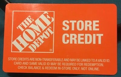 HOME DEPOT STORE Credit Gift Card Amount $10.10 - $10.10 PicClick