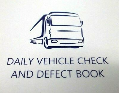 Daily Vehicle Check and Defect book. 1 book. 50 pages. Top Quality