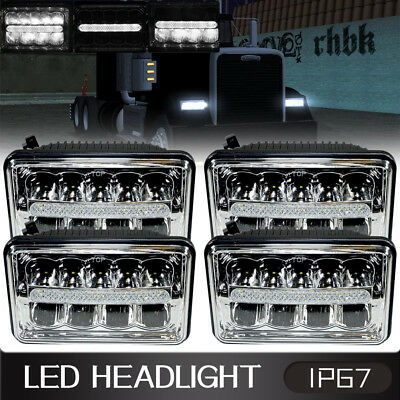 4 4x6 inch 54W LED Headlights with DRL for Freightliner Classic FLD112 FLD120