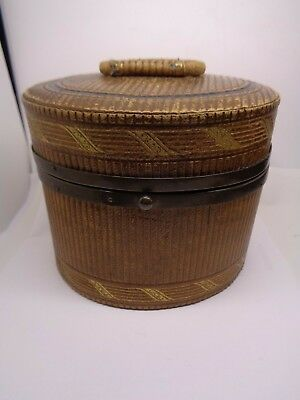 ANTIQUE  VICTORIAN FRENCH ? TOOLED  LEATHER GILT SEWING, JEWELLERY BOX craft