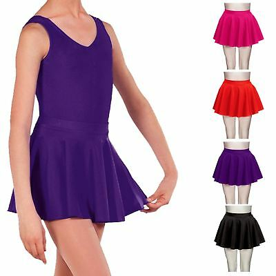 Kids Girls Circular Dance Skirt Short Tap Jazz Ballet Gymnastics Skating Tutu Pe