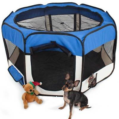 Tenda Recinto Box Pop-Up Per Cuccioli Cuccia Per Piccoli Animali Blu 125x64CM