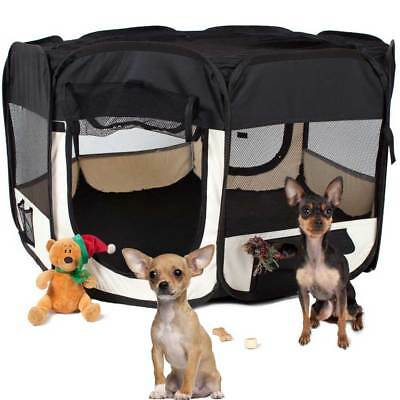 Tenda Recinto Box Pop-Up Per Cuccioli Cuccia Per Piccoli Animali Nera 125x64CM