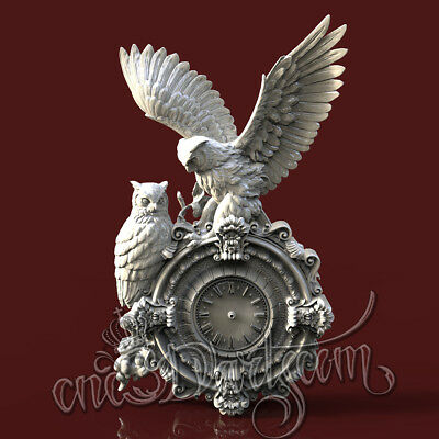 3D Model STL CNC Router Artcam Aspire Owl Owls Hunting Animal Clock Cut3D Vcarve