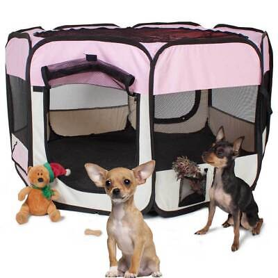 Tenda Recinto Box Pop-Up Per Cuccioli Cuccia Per Piccoli Animali Rosa 125x64CM