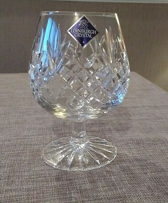 Edinburgh Crystal Lg BRANDY GLASS ETCHED BASE & label Lomond Fabulous Gift