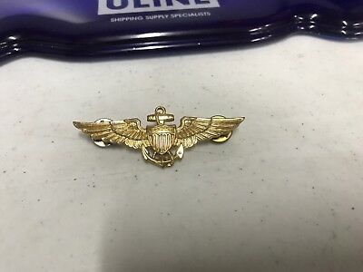 e7db4c08ec9 VINTAGE US NAVY Pilot Aviator Wings Gold Filled Over Sterling Pin ...