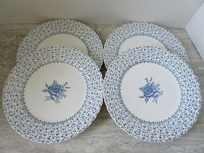 """Set of 4 Old Johnson Brothers Blue Rose Bouquet Dinner Plates 9 3/4"""" dia"""