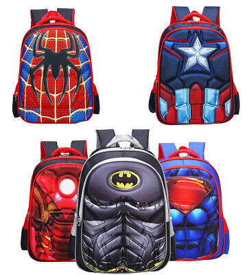 3D Kids Boys Superman Spiderman Batman Captain America School Bag Backpacks FAST