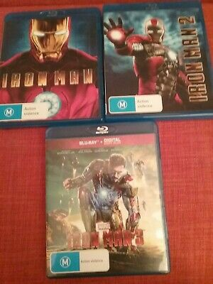 3 Marvel  Iron Men, blue-ray (sell as one lot together)free delivery.