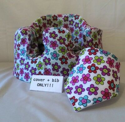 handmade seat cover with harness holes bumbo bib white flowers