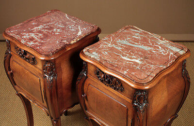 Antique Pair French Walnut & Marble Top Side Cabinets c.1890.