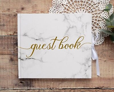 Marble Effect Wedding Guest Book with Gold Printed Text. 34 pages / 68 sides.