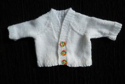 Baby clothes UNISEX GIRL BOY premature/tiny/doll<3lb/1.6k white/bright cardigan