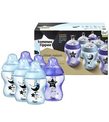 6 X Tommee Tippee Closer to Nature Decorated Bottles Blue Aqua 260 ml 9 oz