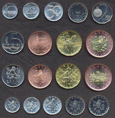CZECH REPUBLIC FULL COIN SET 10+20+50 Haleru 1+2+5+10+20+50 Korun UNC LOT of 9