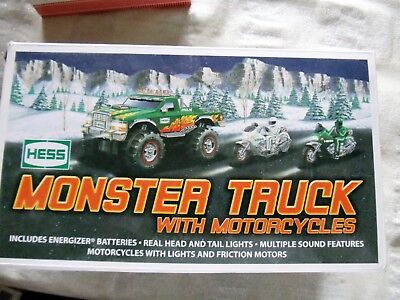 2007 Hess Monster Truck with Motorcycle, mint condition