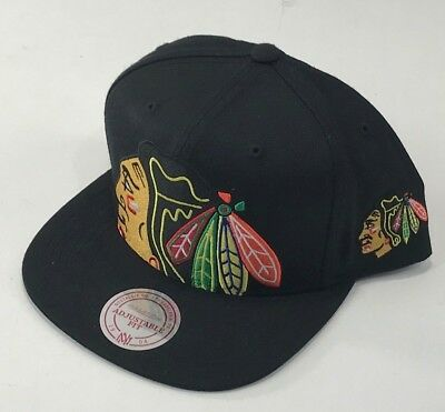 Chicago BlackHawks Mitchell & Ness SnapBack Hat Cap Black NEW NWT BIG LOGO NHL