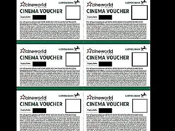 6 x Cineworld Cinema Tickets club Lloyds -Expiry 02/05/2019