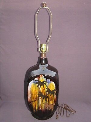 Vtg Brown Mid Century Modern Ceramic Drip Glaze Gold Palm Tree 3-Way Table Lamp