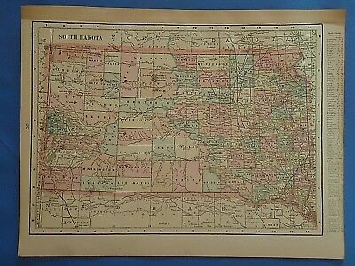 Vintage 1901 SOUTH DAKOTA Map ~ Old Antique Original Atlas Map