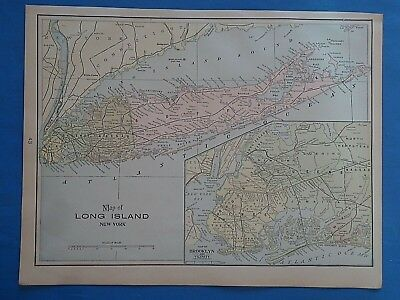 Vintage 1901 LONG ISLAND NEW YORK Map ~ Old Antique Original Atlas Map 12519