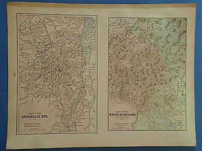 Vintage 1901 ADIRONDACK - WHITE MOUNTAINS Map ~ Old Antique Original Atlas Map