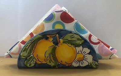 Vietri pottery-Napkins Holder With Lemon-Made/Painted by hand in Italy
