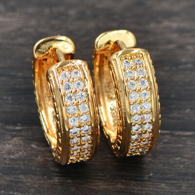 Classic Women 18K Gold Plated Clear Cubic Zirconia CZ Hoop Huggie Earrings 20MM
