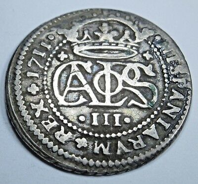 1711 Spanish Silver 2 Reales Piece of 8 Real US Colonial Pirate Treasure Coin