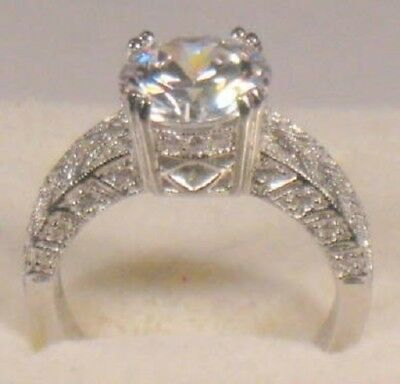 3.00 Ct Round Solitaire Diamond Engagement Ring White Gold Platinum Finish