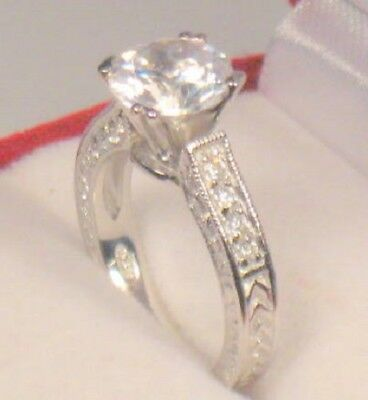 3.00 Ct Antique Diamond Engagement Ring Solitaire White Gold Platinum Finish