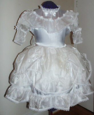 Charming Satin Organza White Sissy Lolita Adult Baby Aunt D