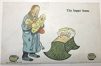 """Vintage Postcard New Baby """"The Happy Home"""" Father & 4 Babies Unposted Undivided"""