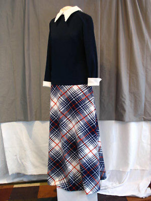 Vintage 1970's Maxi Dress Blue and White with Red White and Blue Plaid Skirt