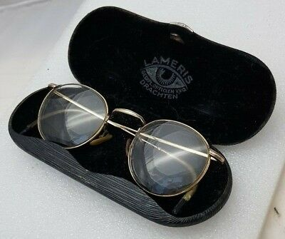 Eyeglasses gold plated antique rare frame + case