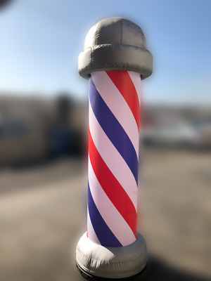 8' Outdoor Advertising Barber Shop Pole Inflatable withe Blower & Light Sockets