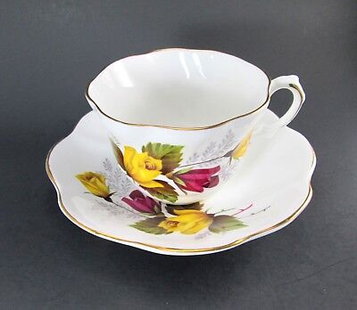 Vintage Royal Dover Yellow and Red Rose Bone China Cup and Saucer Set England
