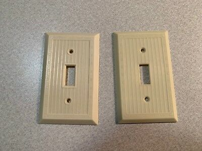2 - Bakelite Light Switch Cover Plates - Vintage Slater USA - Ivory Art Deco
