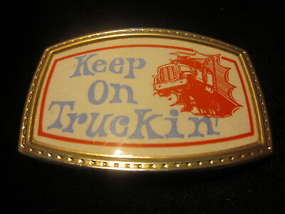 Keep On Truckin' vintage belt buckle beltbuckle Robert Crumb art Peterbilt truck