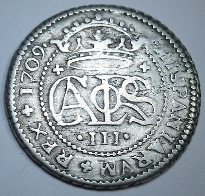1709 Spanish Silver 2 Reales Piece of 8 Real US Colonial Pirate Treasure Coin