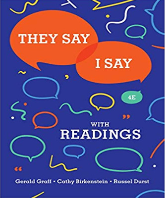  e-Version  They Say I Say with Readings 4th Edition Graff, Berkenstein, & Durst