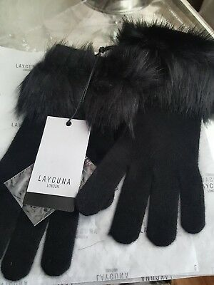 100% Pure Cashmere Black Gloves With soft Faux Fur Trim BNWT by laycuna  london 842178255696