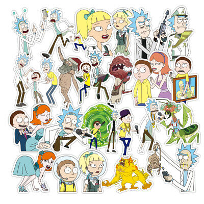 100PCS Rick and Morty Car Stickers Decal Style Vinyl Character Decoration Paper
