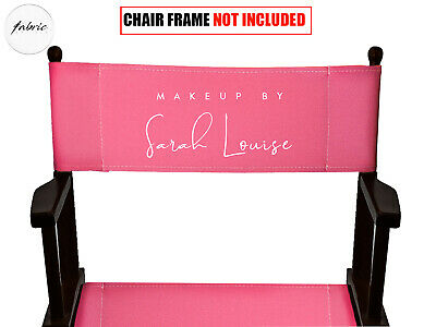 BLACK Personalised Back Canvas for Folding Directors Chair - Makeup Chairs