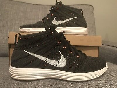 9b696d1bc5 Nike Lunar Flyknit Chukka Midnight Fog White Black Orange Rare Sz.12 Kobe