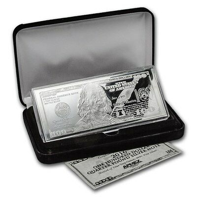 2016 Proof $100 Quarter Pound .999 Silver Bar with COA and Presentation Case